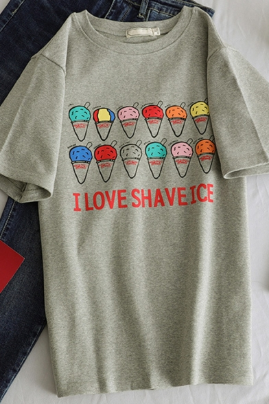 Popular Girls' Short Sleeve Crew Neck I LOVE SHAVE ICE Letter Ice-Cream Print Relaxed Fit Tee, Pink;beige;gray, LM583648