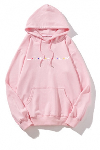 Popular Letter LOBSTER Print Long Sleeve Thick Loose Pullover Hoodie
