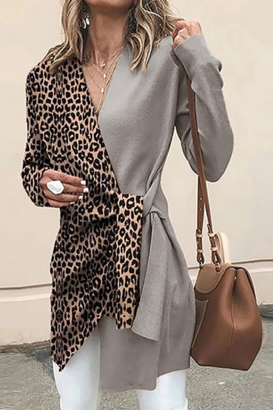 Sexy Women's Long Sleeve Surplice Neck Leopard Printed Tied Waist Asymmetric Midi Fitted Wrap Coat