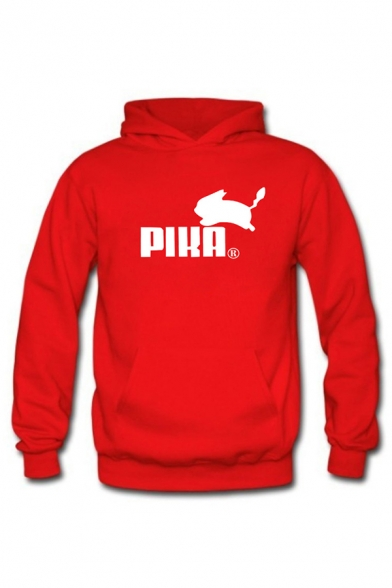Simple Letter PIKA Printed Long Sleeves Relaxed Fit Graphic Hoodie