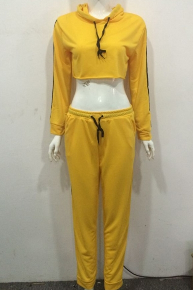 Sport Popular Striped Long Sleeve Crop Hoodie with Drawstring Pants Yellow Two Piece Co-ords