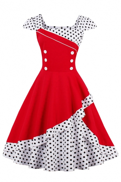 Vintage Cute Short Sleeve Square Neck Polka Dot Printed Patched Double Breasted Zip Back Asymmetric Mid Pleated Flared Dress for Women