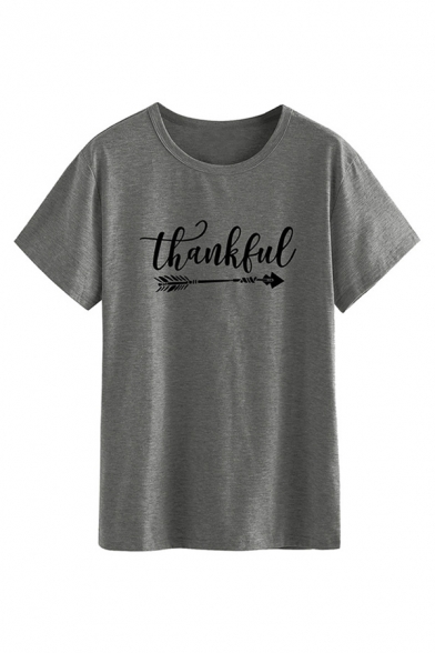 Women's Casual Short Sleeve Crew Neck Letter THANKFUL Arrow Print Relaxed Tee LM586537 фото