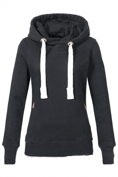 Womens Daily Casual Plain Long Sleeve Drawstring Hoodie with Pocket