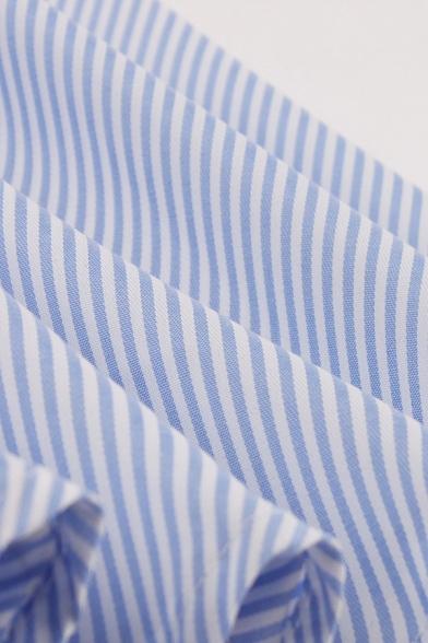 Blue Cute Sleeveless Lapel Neck Button Front Stripe Ruffled Trim Midi Pleated Flared Shirt Dress for Girls