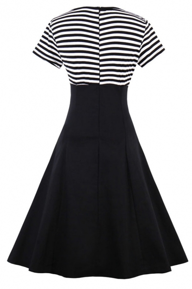 Chic Girls' Short Sleeve Button-Down Collar Stripe Pattern Patched Zipper Back Button Embellished Mid Flared Pleated Dress