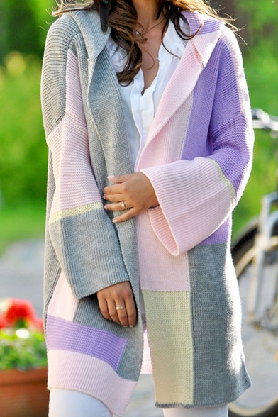 Chunky Fancy Women' Bell Sleeve Hooded Contrasted Patched Midi Baggy Midi Cardigan Sweater, Green;pink;light blue;purple, LM576759
