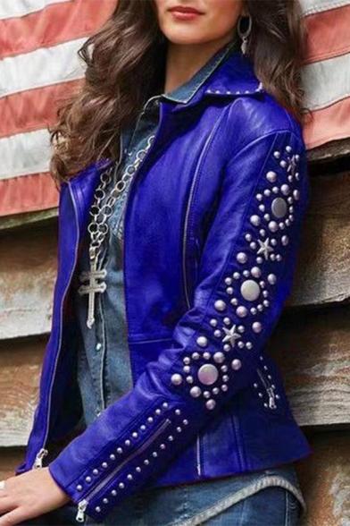 Cool Women Long Sleeve Lapel Collar Zipper Front Pockets Side Rivet Decoration Leather Plain Fitted Jacket, Black;blue;brown;burgundy, LM579229