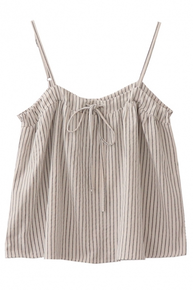 Cute Girls' Sleeveless Bow Tie Drawstring Stripe Printed Loose Fit Crop Cami in White