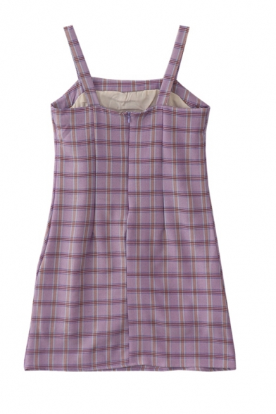 Cute Girls' Sleeveless Plaid Printed Zipper Back Fitted Short A-Line Cami Dress in Purple