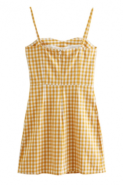 Cute Girls' Sleeveless Plaid Printed Zipper Back Short A-Line Cami Dress