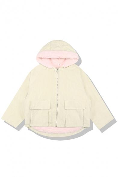 Cute Plain Long Sleeve Hooded Zipper Front Flap Pockets Corduroy Shearling Lined Oversize Jacket for Girls