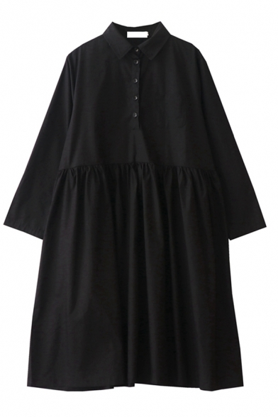 Dark Street Girls' Black Long Sleeve Lapel Neck Button Front Drawstring Pleated Baggy Midi Polo Dress with Tie
