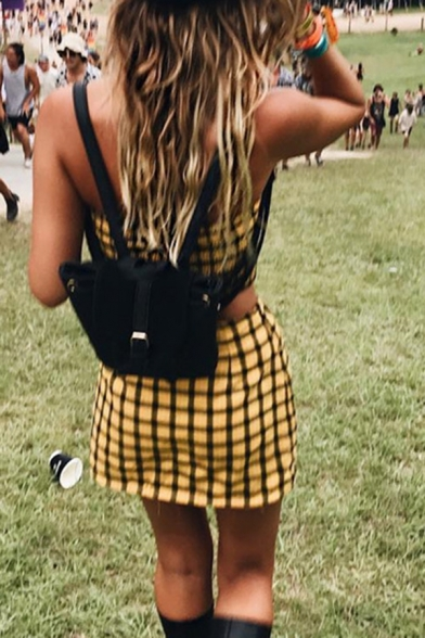 Edgy Girls Simple Yellow Checked Pattern Tube Top with Mini A-Line Skirt Co-ords