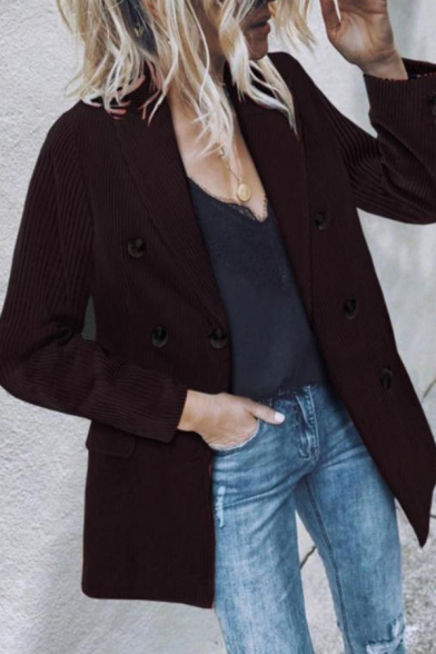 Elegant Fashion Ladies' Long Sleeve Shawl Collar Double Breasted Corduroy Plain Relaxed Blazer Jacket