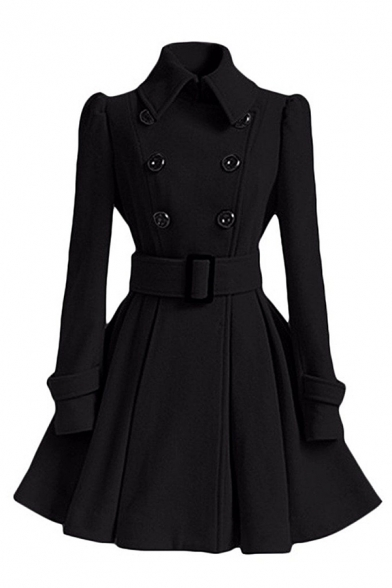Fancy Ladies' Long Sleeve Lapel Collar Double Breasted Buckle Belted Plain Fitted Pleated Dress Wool Coat, Black;pink;red;white;gray;khaki, LM579208