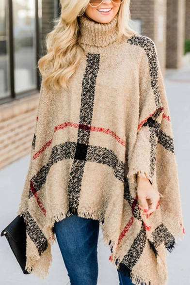 Fashion Street Women's Turtle Neck Plaid Pattern Fringe Baggy Poncho Sweater, Red;khaki, LM580602