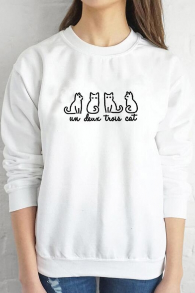 Funny Letter UN DEUX TROIS CAT Printed Long Sleeve Relaxed Pullover Sweatshirt, Black;burgundy;green;pink;white;gray;yellow, LC583314