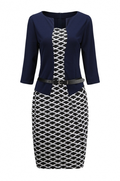 Ladies' Formal Long Sleeve Boat Neck Buckle Belt All Over Geo Print Patched False Two-Piece Midi Tight Work Dress LM582961 фото