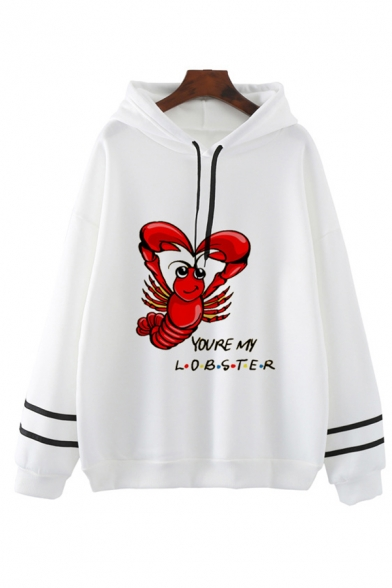 LOBSTER PIVOT Letter Print Striped Long Sleeve Drawstring Graphic Hoodie for Women, Pink;white, LC582727
