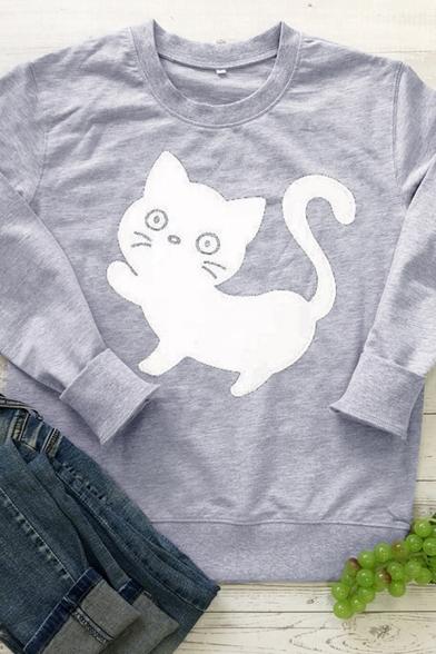 Lovely Kitten Pattern Long Sleeve Crewneck Casual Pullover Sweatshirt, Black;burgundy;green;pink;gray;yellow, LC582835