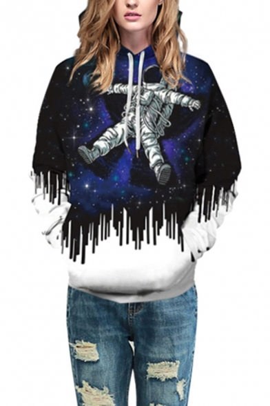 New Stylish Galaxy Astronaut 3D Print Long Sleeves Pullover Hoodie