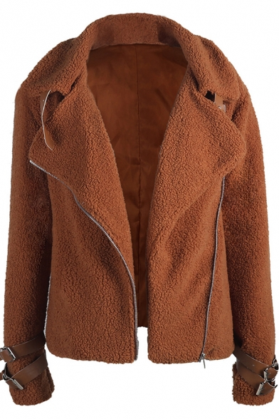 Plain Fashion Long Sleeve Notch Collar Zipper Buckle Detail Fitted Fluffy Teddy Jacket for Ladies