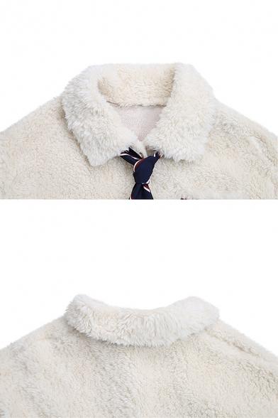 Preppy Girls' Long Sleeve Lapel Collar Necktie Embellished Pockets Pocket Contrasted Sherpa Oversize Jacket in White
