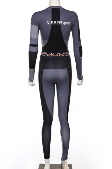 Sexy Colorblock Patch Long Sleeve Top Letter Printed Drawstring Pants Skinny Co-Ords