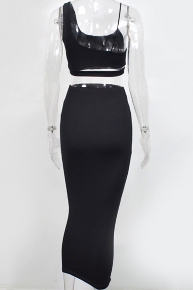Sexy Womens Plain Cutout Cami Tank with Maxi Bodycon Skirt Two Piece Party Set