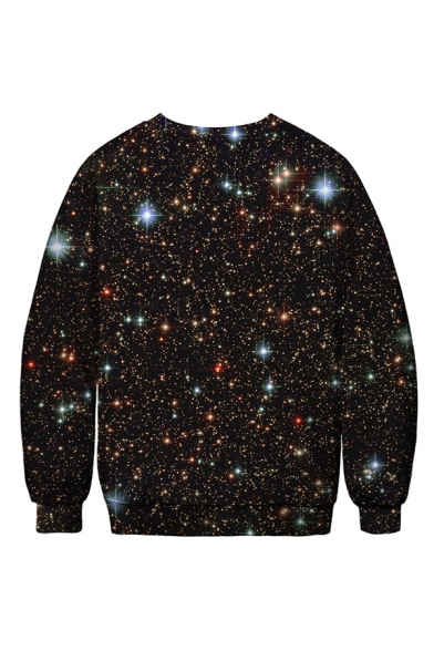 Simple Galaxy Rainbow Unicorn Letter HA Joker 3D Print Long Sleeves Black Oversized Sweatshirt