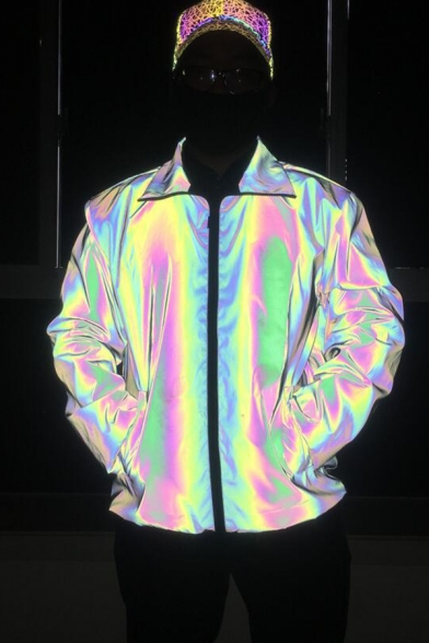 Unique Rainbow Reflective Lapel Collar Long Sleeves Zip Placket Loose Fit Men's Jacket