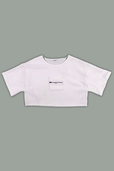 White Unique Zip Embellished Short Sleeve Crop T-Shirt with Plaid Embossed Pants Co-ords