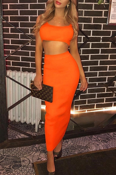 Womens Fashion Plain Cropped Tank Top with Maxi Skirt Sexy Nightclub Two Pieces Set