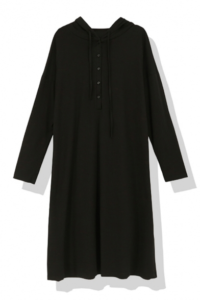Black Basic Long Sleeve Hooded Button Front Hooded Baggy Midi Swing Dress for Girls, LM580781