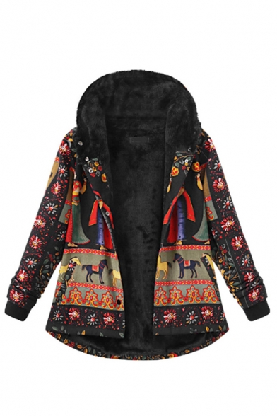 Black Casual Long Sleeve Hooded Button Down Floral Patterned Pockets Side Oversize Sherpa Liner Coat for Female