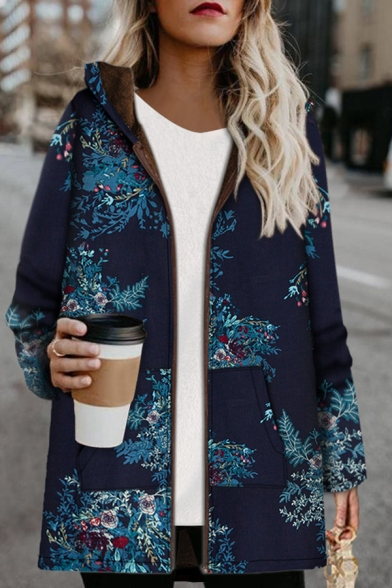 Casual Warm Long Sleeve Hooded Zipper Front Pockets Side Floral Pattern Sherpa Liner Baggy Coat for Women