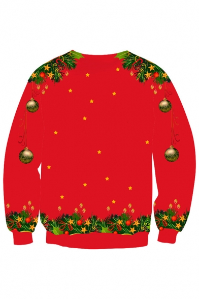 Christmas Fashion Red Cat Jungle Bell 3D Printed Long Sleeve Pullover Sweatshirt
