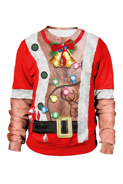 Christmas Theme 3D Printed Long Sleeves Crew Neck Loose Fit Pullover Sweatshirt