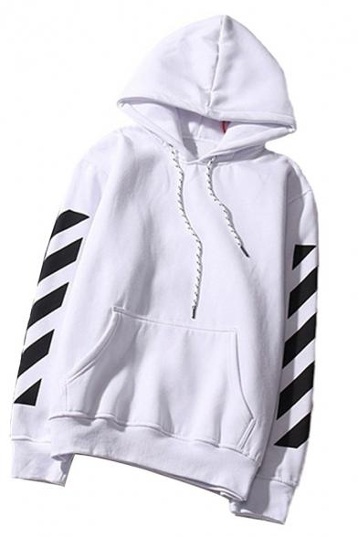 Cool Girls' Long Sleeve Drawstring Stripe Printed Letter Kangaroo Pocket Baggy BF Korean Hoodie
