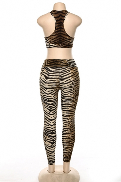 Edgy Girls Brown Tiger Printed Racerback Cropped Tank Top & Casual Pants Two Piece Co-ords