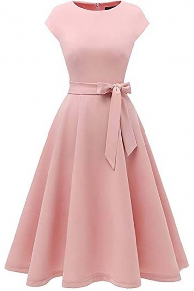 Elegant Plain Short Sleeve Boat Neck Zipper Back Bow Tie Waist Long Pleated A-Line Dress for Ladies