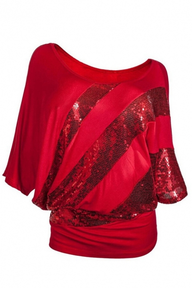 Fashion Blingbling Batwing Sleeve Round Neck Sequined Patched Relaxed Plain T-Shirt for Female