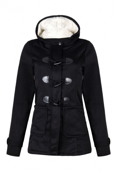Female Classic Warm Long Sleeve Hooded Zipper Front Shearling Liner Plain Fitted Duffle Coat, Black;burgundy;dark gray;light gray;army green;coffee;navy, LM579188