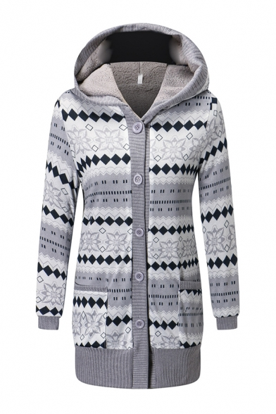 Girls' Casual Long Sleeve Hooded Button Down Floral Printed Sherpa Liner Patched Pockets Relaxed Midi Coat