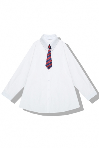 Girls' Preppy Looks Long Sleeve Lapel Neck Button Down Oversize White Shirt with Striped Tie, LM582280