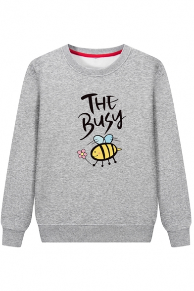 Korean Style Long Sleeve Crew Neck Letter THE BUSY Bee Print Fluff Liner Boxy Sweatshirt for Women