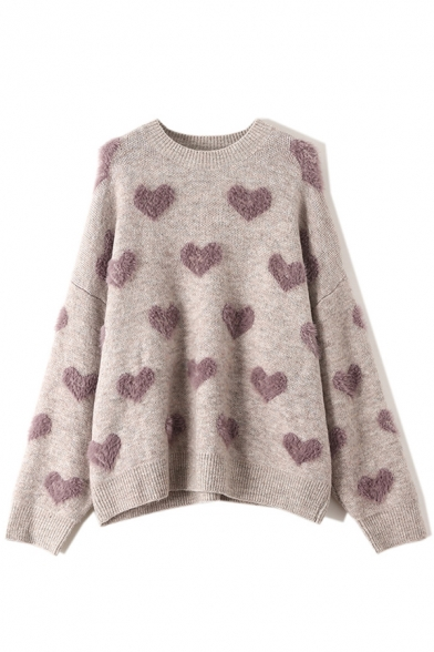 Lovely Heart Pattern Long Sleeve Round Neck Fluffy Knit Oversized Pullover Sweater, Red;purple, LM579941