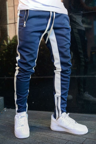 Popular Striped Print Zipper Cuff Mid Waist Casual Tapered Pants with Drawstring