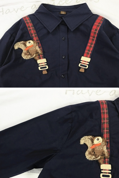 Preppy Girls' Long Sleeve Lapel Neck Button Down Squirrel Embroidered Oversize Navy Shirt with Plaid Strap